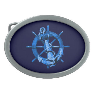 Blue Nautical Ships Wheel And Anchor Oval Belt Buckle