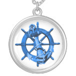 Blue Nautical Ships Wheel And Anchor Pendants
