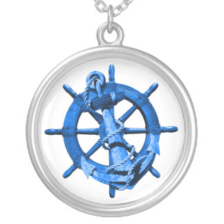 Blue Nautical Ships Wheel And Anchor Round Pendant Necklace