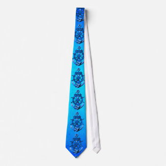 Blue Nautical Ships Wheel And Anchor Tie