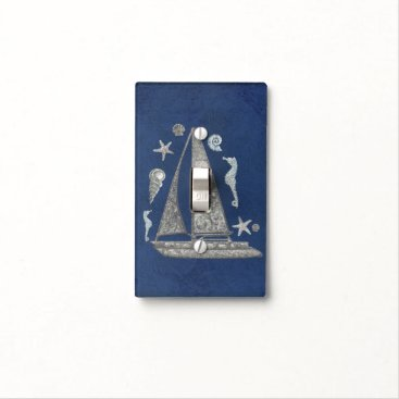 Beach Themed Blue Nautical Silver Sail Boat & Beach Things Light Switch Cover