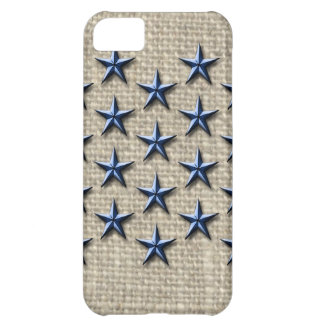 blue nautical stars on linen cover for iPhone 5C