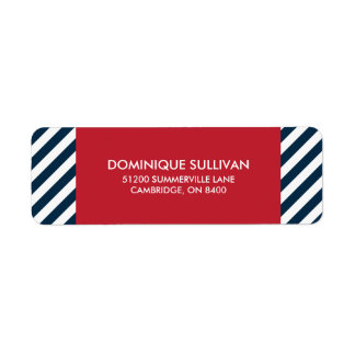 Blue Nautical Stripes Red Wedding Address Label