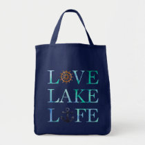 Blue Nautical Typography Love Lake Life Tote Bag