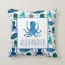 Blue Nautical Watercolor Under The Sea Octopus Throw Pillow