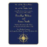 Blue Nautical Wedding Invitations Gold Compass
