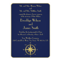 Blue Nautical Wedding Invitations Gold Compass