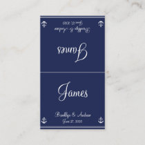 Blue Nautical Wedding Seating Cards Business Cards