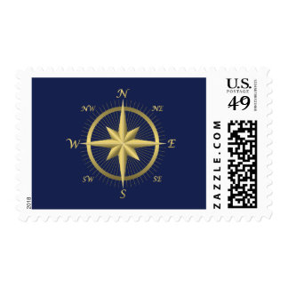 Blue Nautical Wedding Stamps Gold Compass Stamp