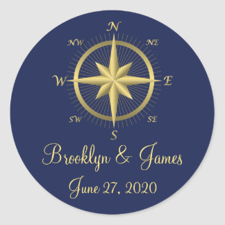 Blue Nautical Wedding Stickers Gold Compass