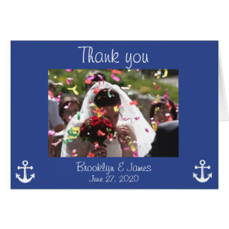 Blue Nautical Wedding Thank You Cards With Picture
