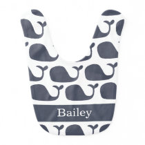 Blue Nautical Whale Baby Bib
