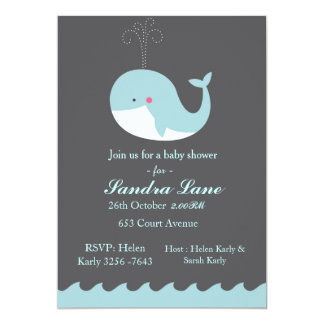 Blue Nautical Whale Baby Shower Invitation