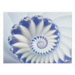 Blue Nautilus Abstract Fractal Art Posters