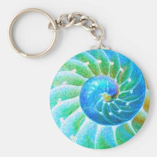 Blue Nautilus Basic Round Button Keychain