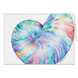 Blue Nautilus Infinity Shell Watercolor Card