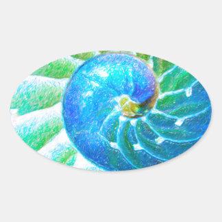 Blue Nautilus Oval Sticker