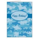 Blue Navy Camo Camouflage Happy Birthday Custom Cards