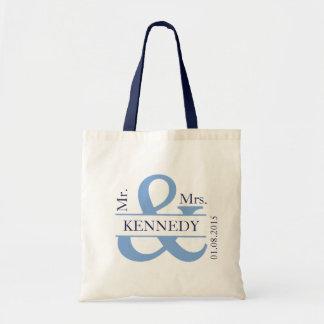 Blue Navy Custom Monogram Newly Weds Wedding Favor Budget Tote Bag