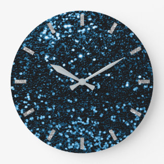 Blue Navy Deep Ocean Sparkly Faux Glitter Gray Large Clock