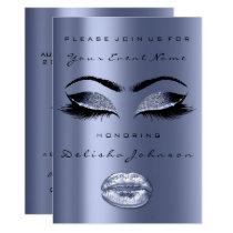 Blue Navy Eyes Black Glitter Bridal Sweet 16th Lip Card