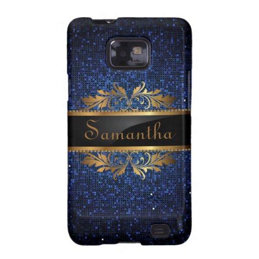Blue Navy Glitter Sequin Disco Samsung Galaxy Case