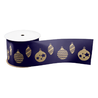 Blue Navy Golden  Holidays Snowflakes Ball Satin Ribbon