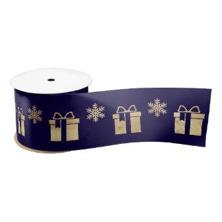 Blue Navy Golden Holidays Snowflakes Gift Satin Ribbon