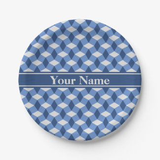 Blue/Navy/Gray Wavy Pattern Paper Plate 7 Inch Paper Plate