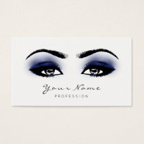 Blue Navy Makeup Lashes Extension Studio White Business Card