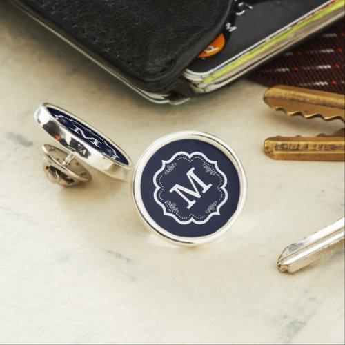 Blue Navy  Monogram Lapel Pin