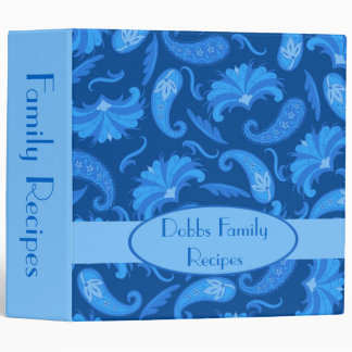 Blue Navy Name Personalized Paisley Album Notebook Binder