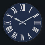 """Blue Navy Nauti Gray Metallic Silver Roman Numbers Large Clock<br><div class=""""desc"""">Unique minimal and decorative  Corresponds to actual fashion trend in home decor. You can change the shape and color of the hand. florenceK design</div>"""