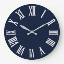 Blue Navy Nauti Gray Metallic Silver Roman Numbers Large Clock