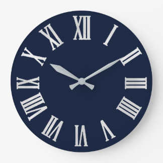Blue Navy Nauti Gray Metallic Silver Roman Numbers Large Clock