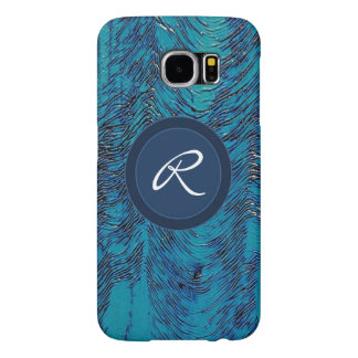 Blue navy ripples texture monogram samsung galaxy s6 case