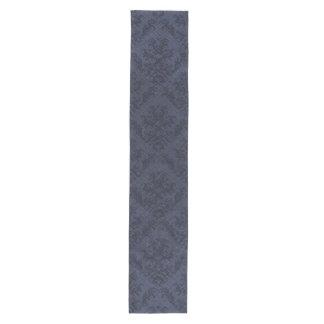Blue Navy Rustic Damask Vintage Wallpaper Medium Table Runner