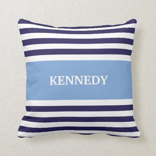 Blue & Navy Stripes & Monogram Throw Pillows