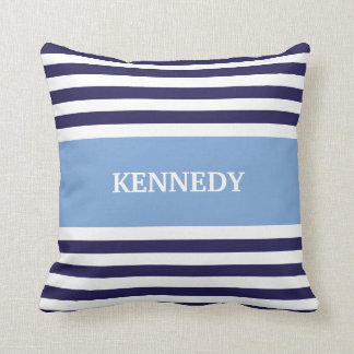 Blue & Navy Stripes & Monogram Throw Pillow