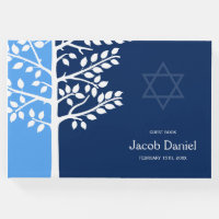Blue Navy Tree of Life Bar Mitzvah Guest Book