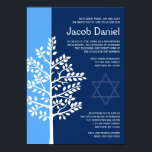 "Blue Navy Tree of Life Bar Mitzvah Invitations<br><div class=""desc"">Modern blue and navy Tree of Life Bar Mitzvah invitations. Easily personalize for your event.</div>"