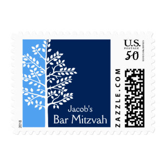 Blue Navy Tree of Life Bar Mitzvah Postage