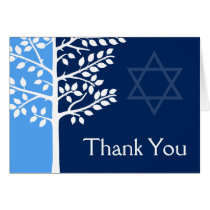 Blue Navy Tree of Life Bar Mitzvah Thank You