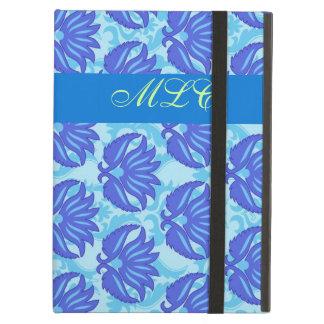 Blue Navy Turquoise Modern Damask Monogram Custom iPad Air Case