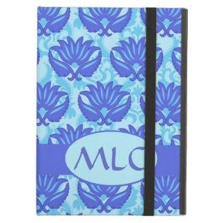 Blue Navy Turquoise Modern Damask Monogram Custom iPad Air Cover