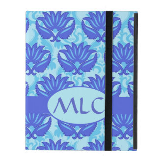 Blue Navy Turquoise Modern Damask Monogram Custom iPad Folio Case