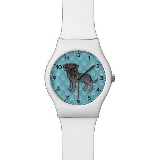 Blue Neapolitan Mastiff Dog Cartoon Wristwatch