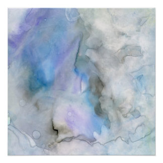 Blue Nebula Abstract Watercolor Perfect Poster
