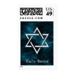 Blue Nebulae & Silver Star of David You're Invited Postage