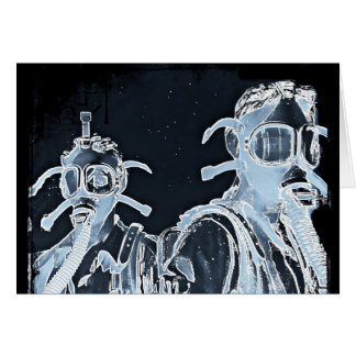 Blue Negative Image Gas Masks Card